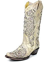 CORRAL A3322 White Leather Glitter Inlay Boot With Crystals