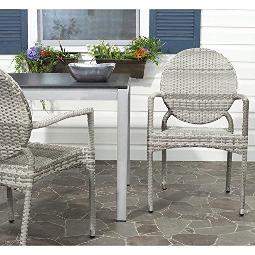 (Safavieh Home Collection Valdez Grey Indoor-Outdoor Stacking Arm Chair)