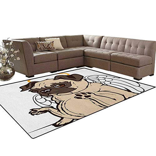 Pug,Carpet,Pug Puppy Angel with a Hare on Its Head and Beautiful Angel Wings Heaven Religious,Rugs for Living Room,Cream Gold Size:6'x7'