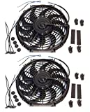2x 12'' inch Universal Slim Fan Push Pull Electric Radiator Cooling 12V Mount Kit