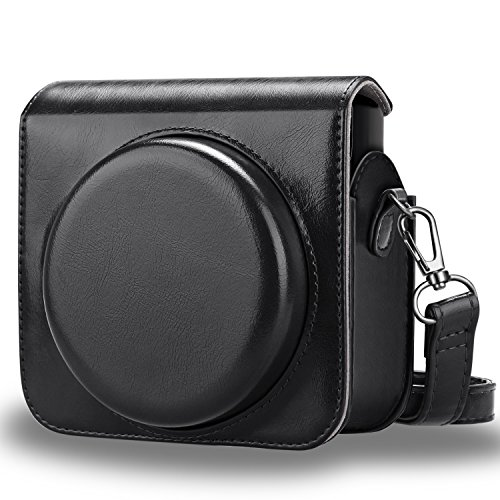 Fintie Protective Case Compatible with Fujifilm Instax Square SQ6 Instant Film Camera - Premium PU Leather Bag Cover with Removable Adjustable Strap, Black