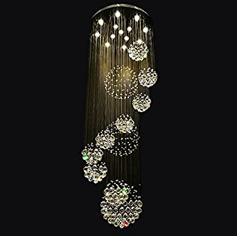 Siljoy spiral staircase chandelier lighting raindrop crystal sphere siljoy spiral staircase chandelier lighting raindrop crystal sphere chandelier modern led ceiling light foyer lighting w40 x h118 amazon aloadofball Image collections