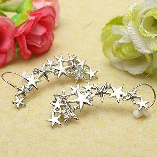 1 Pair Fashion Silver Star Ear Bone Clip On Ear Cuff Earrings No Pierce