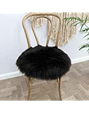 YOH Luxury Round 1.5 Feet Soft Fluffy Chair Cover Seat Cushion Pad Faux Fur Sheepskin Area Rugs Shaggy Wool Carpet for Living Room Bedroom Makeup Chair Home Decor Carpet