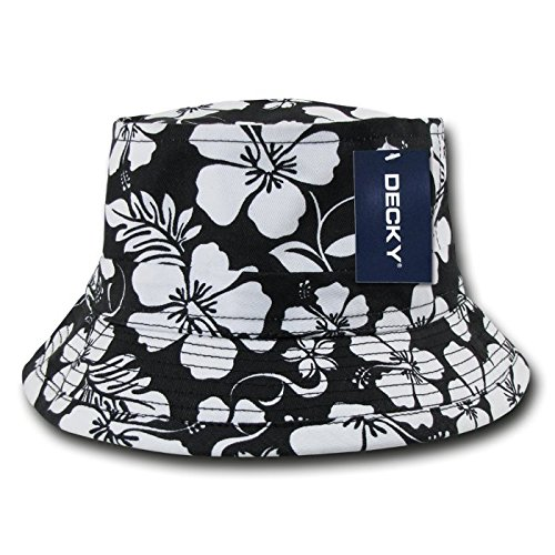DECKY Floral Fisherman Hat, Black, Small/Medium ()