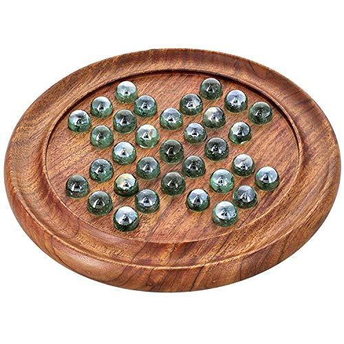 Handmade Solitaire Marbles Family Board Game Puzzle with Glass Marbles for Kids Adults