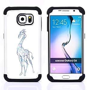"""Pulsar ( Jirafa del dibujo del arte colorido Lápiz Azul"""" ) Samsung Galaxy S6 / SM-G920 SM-G920 híbrida Heavy Duty Impact pesado deber de protección a los choques caso Carcasa de parachoques"""