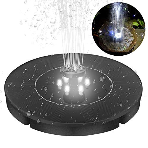 (Yinuoday Solar Fountain for Bird Bath Pond Garden Decoration with LED Night Light & 4 Different Spray Pattern Heads)