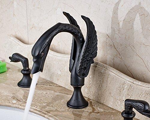 Rozin ORB Finish Swan Design 3pcs Widespread Bathroom Sink