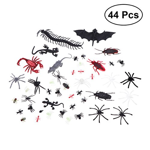 LUOEM 44 Pcs Plastic Bugs Realistic Fake Spiders Scorpion Flies Bat Spooky Pest Toy Creepy Prank Toy for Halloween Party April Fool's Day Decor -