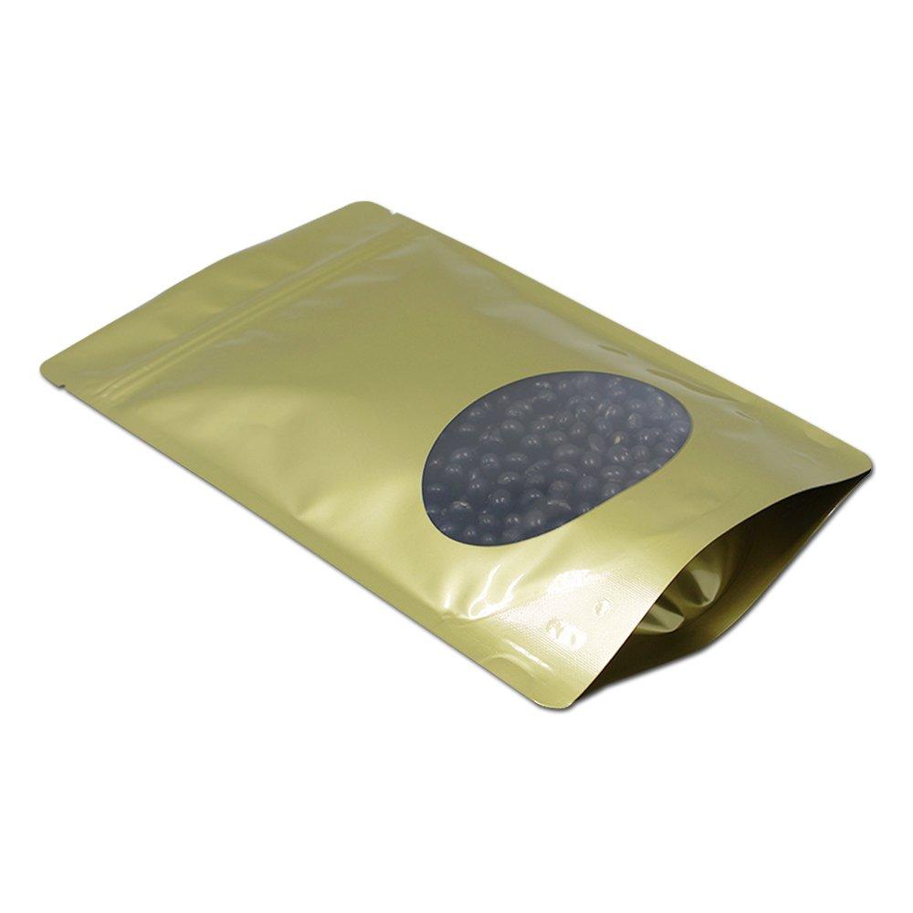 ゴールド ジップロック 自立袋 食品用 保存用バッグ 窓付き 包装袋 マイラー ギフト キッチン収納 コーヒー豆 ポーチ 15 x 23 cm (200) B07J1QRNN3  200