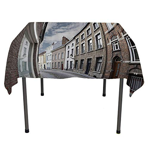 Wanderlust Decor Collection, Wipeable Table CoverCityscape of Bruges Streets Belgium Architecture Cobblestone Town Scene, for Kitchen Dining Party, 70x70 Inch Gray - Scene 1950's Street