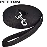 Pettom Nylon Dog Training Leashes Pet Supplies Walking Harness Collar Leader Rope for Dogs Cat (Black, XL 50 FT)