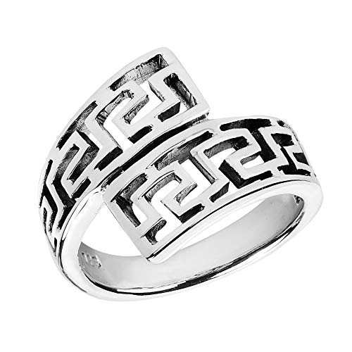 AeraVida Unique Twist Wrap Greek Key .925 Sterling Silver Ring (8)