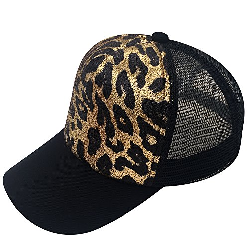 E-FOREST Structured Unisex Leopard Baseball Cap Adjustable Trucker Mesh Snapback Hat (Black/Gold Leopard/Black)
