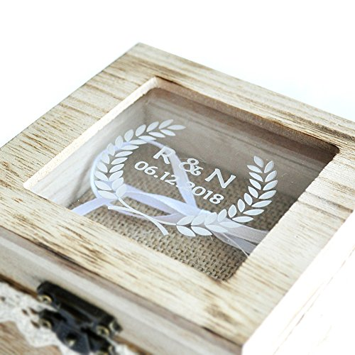 Personalized Wedding Ring Box Custom Wood Wedding Ring Box Rustic Wedding Ring Bearer Box by weddinghanger2015 (Image #2)