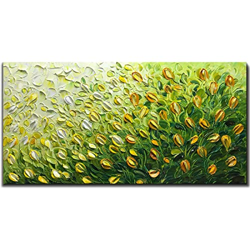 (Tiancheng Art, 24x48 inch Tulip Flower Art Painti 100% Hand-Painted Green Wall Art yellow tulip Framed Canvas paintings Contemporary Artwork Ready to Hang for Home Decoration Kitchen Office Wall Decor)