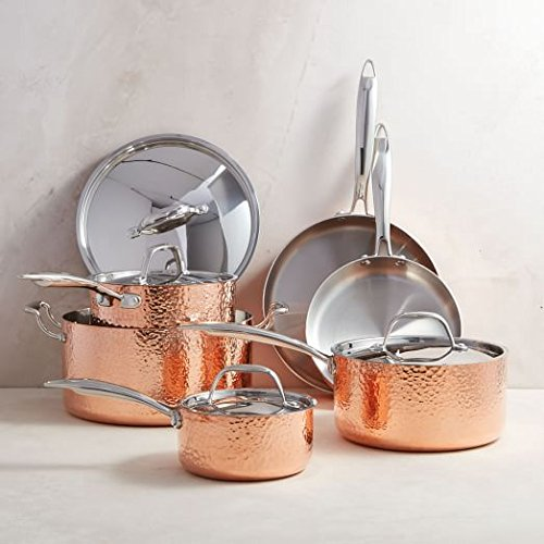 Cookware Hammered Copper (Oprah Suggested Her Favorite Things - Fleischer & Wolf Seville Series Cookware Set (10-Piece) - Tri-ply Hammered Stainless Steel Copper-Oven and Grill safe Kitchen Pots and Pans Set)