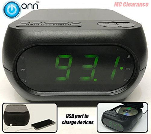 Onn CD/AM/FM Alarm Clock Radio with USB port to charge devices + Aux-in jack, Top Loading CD player ONA202 (Refurbished)