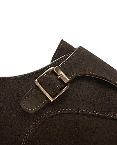 Massimo Dutti Herren Braune Schuhe Aus Rauleder mit Doppelter Schnalle 2206/022