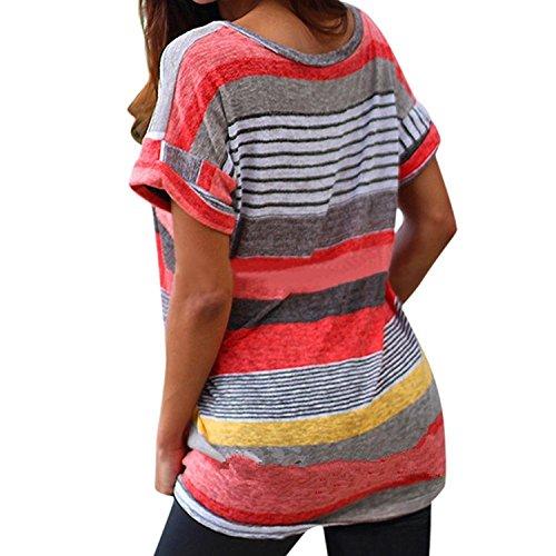 Liqy - Camiseta sin mangas - Asimétrico - para mujer 1-stripe-red
