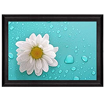 Majestic Design, Daisy Over an Aqua Background Covered in Rain Drops Nature Framed Art, Crafted to Perfection