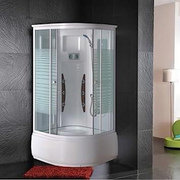 Cabina de hidromasaje 90 x 90 multifunción con bañera y Mampara de ...