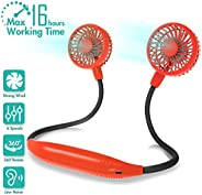 Amacool Neck Fan 2600mah Battery Operated Neckband Fan 6-Speed Hand-Free Wearable Personal USB Fan for Hot Fla