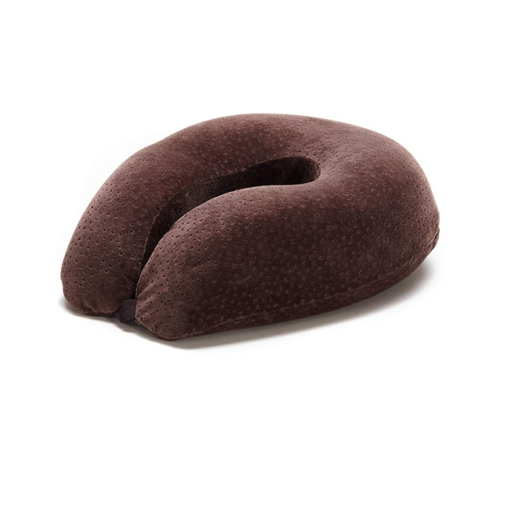 JSFQ U-Shaped Pillow Neck Pillow Travel Portable Pillow Memory Foam Filled U-Shaped Pillow Student Lunch Break Pillow U-Shaped Pillow (Color : Brown)