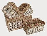 White Wash Garden Rose Lined Storage Baskets Set 4