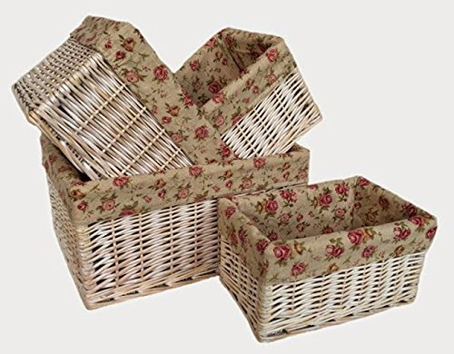 White Wash Garden Rose Lined Storage Baskets Set 4 by Red Hamper