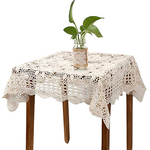 (yazi Handmade Crochet Sofa Doily Cotton Lace Table Placemats Sofa Doilies, Square Beige Color 31.5inch)