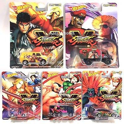 2018 Hot Wheels Street Fighter Complete 5 Car Set Diecast