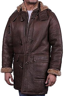Mens Real Shearling Sheepskin Leather Duffle Coat