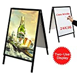 T-Sign Snap Open Aluminum A-Frame Sidewalk Sign for 24'' x 36'' Poster, Includes White Dry Erase Surface - Double Sided Sandwich Boards for Indoor and Outdoor Advertising, Black