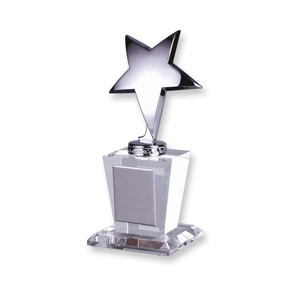 Optical Crystal Silver Star Glass Trophy Award