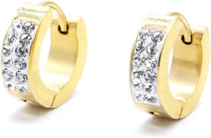 1 par de pendientes de tuerca, pendientes de acero inoxidable con diamantes de imitación para hombres y mujeres, color plateado