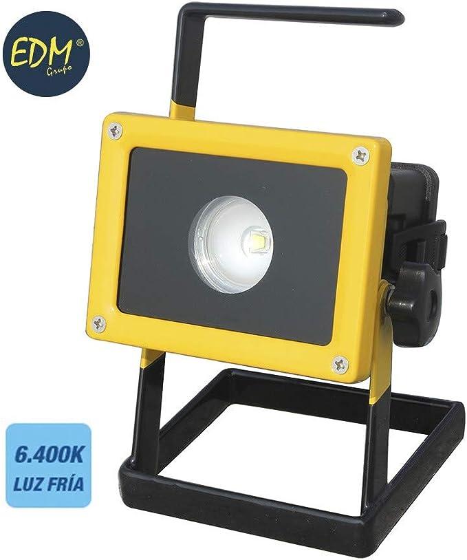 PROYECTOR RECARGABLE LED 10W CON SOPORTE 6.400K LUZ FRIA EDM 220V ...