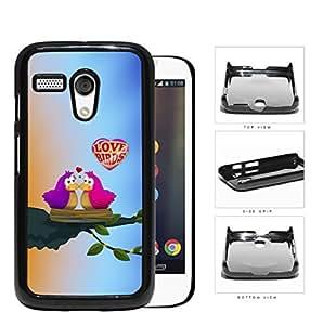 Purple/Pink Love Birds on Tree Bird Nest with Sunrise Background Motorola (Moto G) Hard Snap on Plastic Cell Phone Case Cover