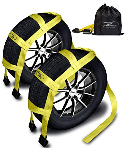 Tow Dolly Straps with Flat Hooks & Carrying Bag (2 Pack) - Essential Vehicle Tow Dolly Strap Harness (10.000 lbs Working Capacity) - Universal Tow Dolly Straps System & Flat Hook Design