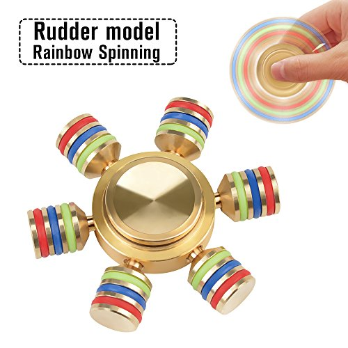 Price comparison product image Dacra For Six Wings Spinner Fidget Noctilucent Rainbow ADHD Brass EDC Foucus Toy With Smaller Friction and Six Detachable WingsNice Bearing Anxiety Relief Toys