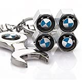 Set of 4 Tire valve stems Caps with Wrench Keychain For BMW