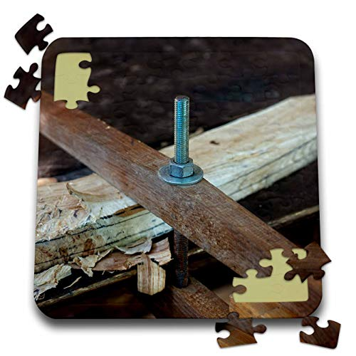 3dRose Alexis Photography - Objects Tools - Metal pin and a nut. Wooden Joint. Vintage Joinery Workshop - 10x10 Inch Puzzle (pzl_307652_2)