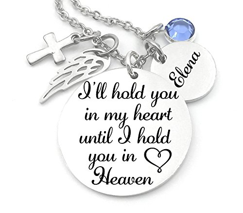 (Memorial Jewelry, Stainless Steel Pendant, Necklace,I'll Hold You In My Heart Until I Hold You In Heaven, Child loss, Lose of Loved One)