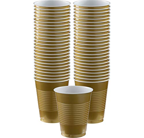 Amscan Big Party Pack Gold Plastic Cups | 16 oz. | Pack of 50 | Party Supply ()