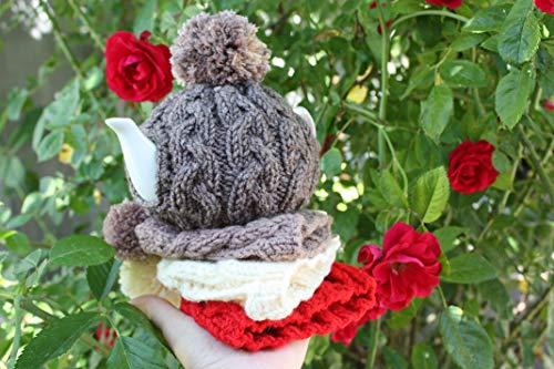 Gray tea cozy, teapot warmer, wool tea cosy, small teapot, tea lover gift, knitted tea cosy, pom pom tea, red, mocha, beige - Knitted Tea Cosy