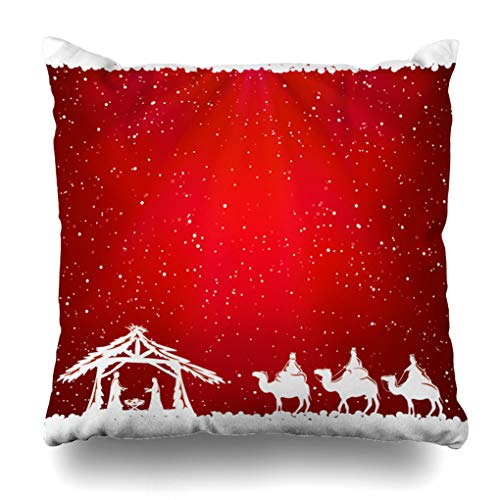 Alricc Christian Christmas Scene Red Christmas Jesus Nativity Birth Religious Decorative Throw Pillows Cushion Cover for Bedroom Sofa Living Room 18X18 Inches