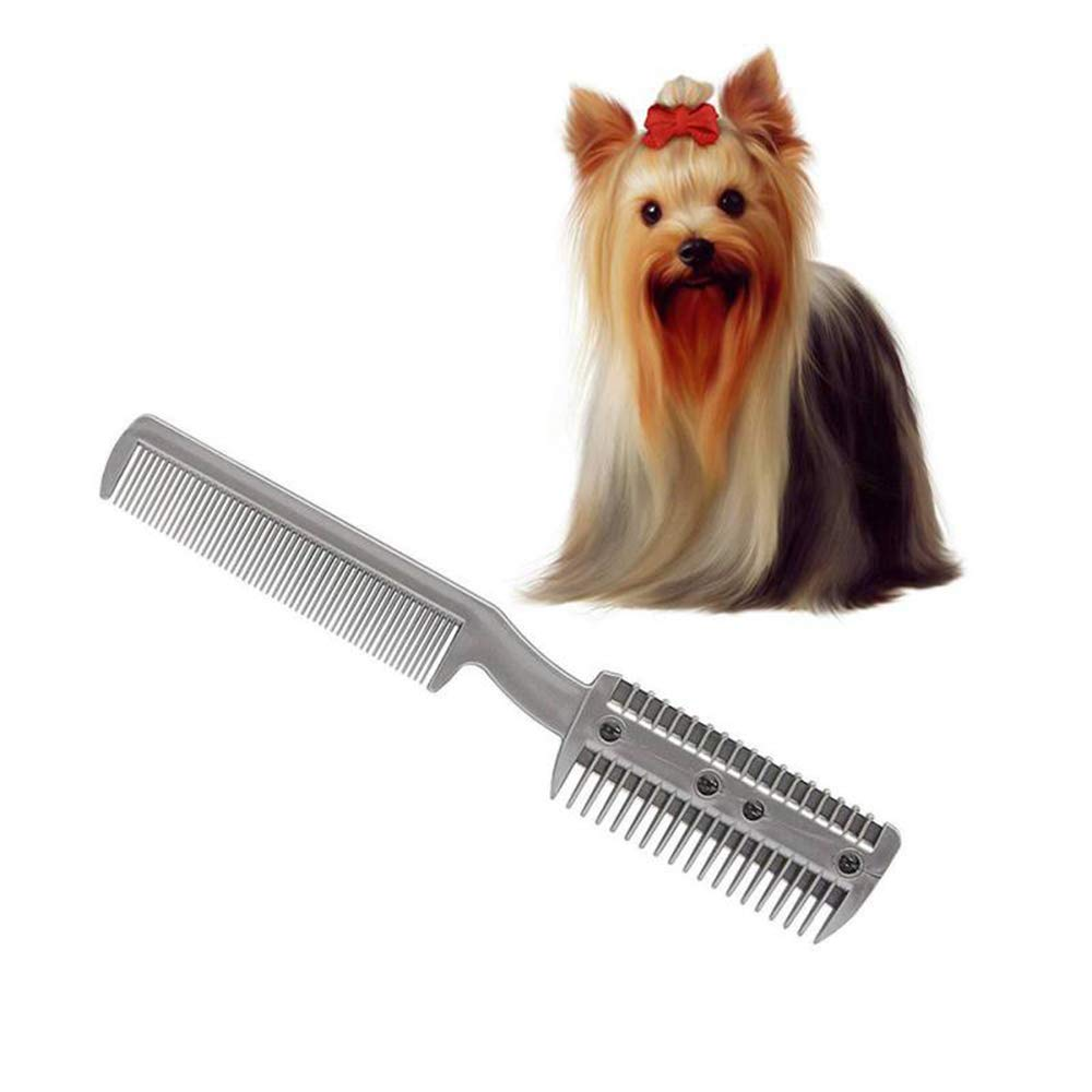 &liyanan Dog Trimmer Grooming Comb Brush Stainless Steel Pet Dog Cat Pin Comb Hair Removal Shedding Grooming Flea Comb Tool Pet 20Cm3.3Cm