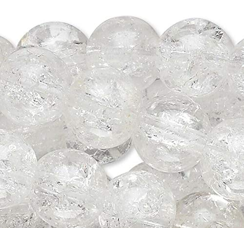 Wholesale Five 15 Strands 7-8Mm Round Clear Glass Crackle Beads