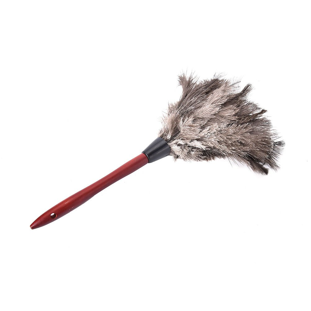 LOCHI New 1Pcs Natural Fall Ostrich Fur Feather Anti Static Duster Brush Wood Handle Household Cleaning Car Fan Furniture Dust Cleaner